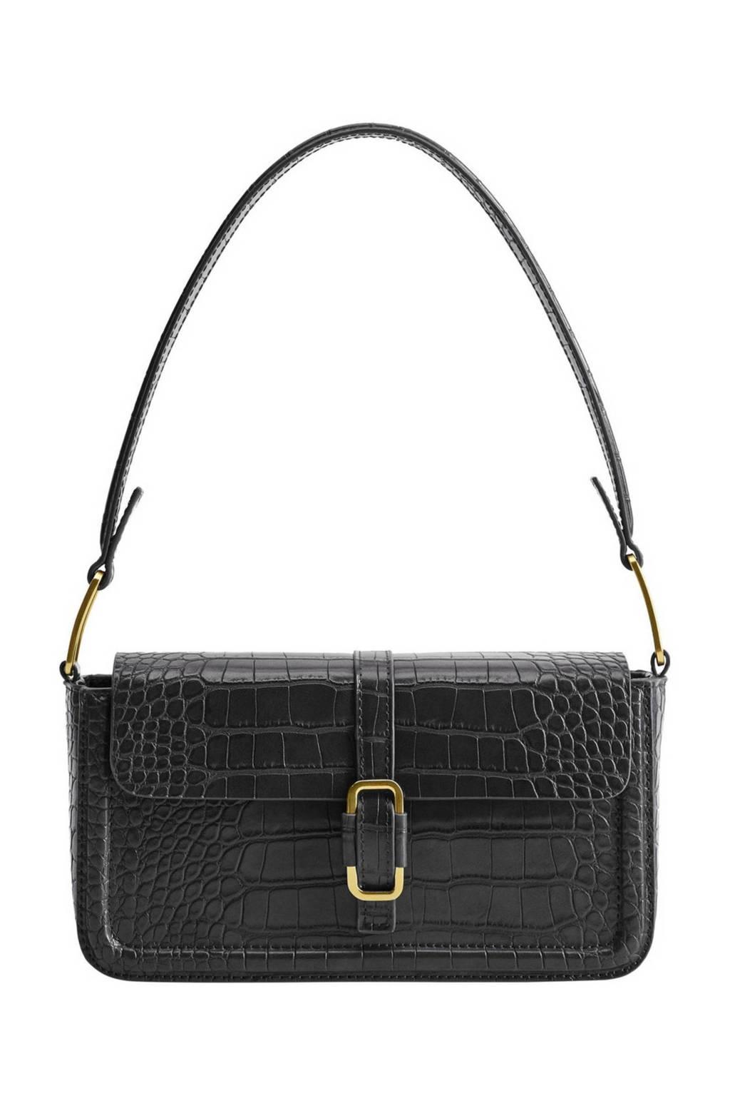 Mango   handtas met crocoprint zwart, Zwart