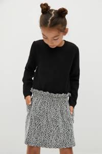Mango Kids rok met all over print zwart/wit, Zwart/wit