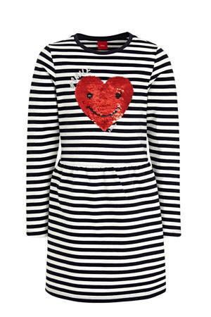gestreepte T-shirtjurk marine/wit