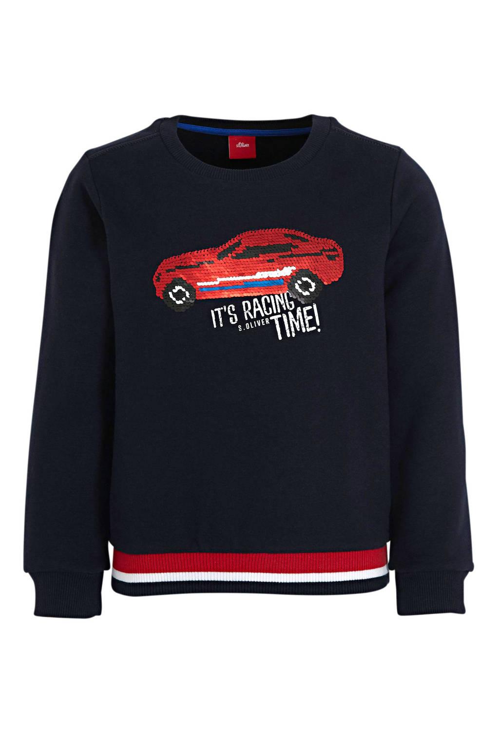 s.Oliver sweater met printopdruk en pailletten donkerblauw/rood/wit, Donkerblauw/rood/wit