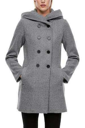 double breasted coat lichtgrijs/zwart gemêleerd