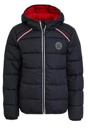 gewatteerde jas met logo donkerblauw