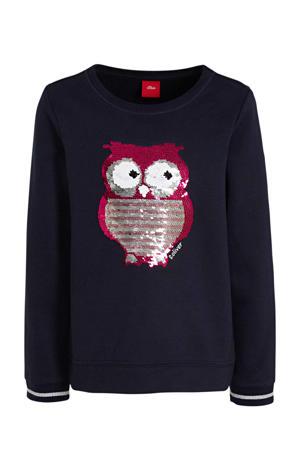 sweater met printopdruk en pailletten donkerblauw/roze