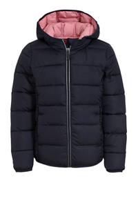 s.Oliver gewatteerde jas met ruches donkerblauw/lichtroze, Donkerblauw/lichtroze