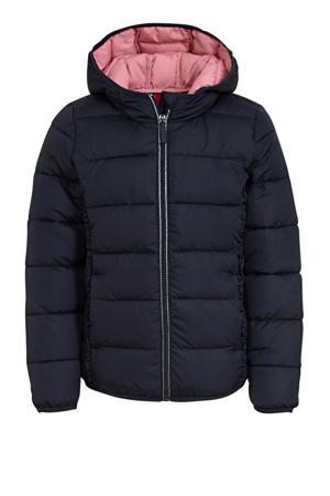 gewatteerde jas met ruches donkerblauw/lichtroze