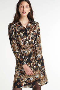 SisterS Point blousejurk met dierenprint en ceintuur zwart/bruin, Zwart/bruin