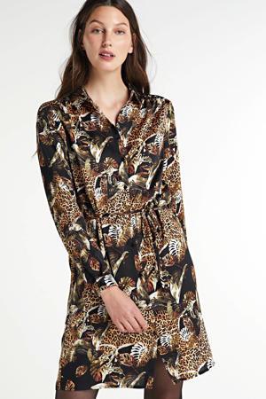 blousejurk met dierenprint en ceintuur zwart/bruin