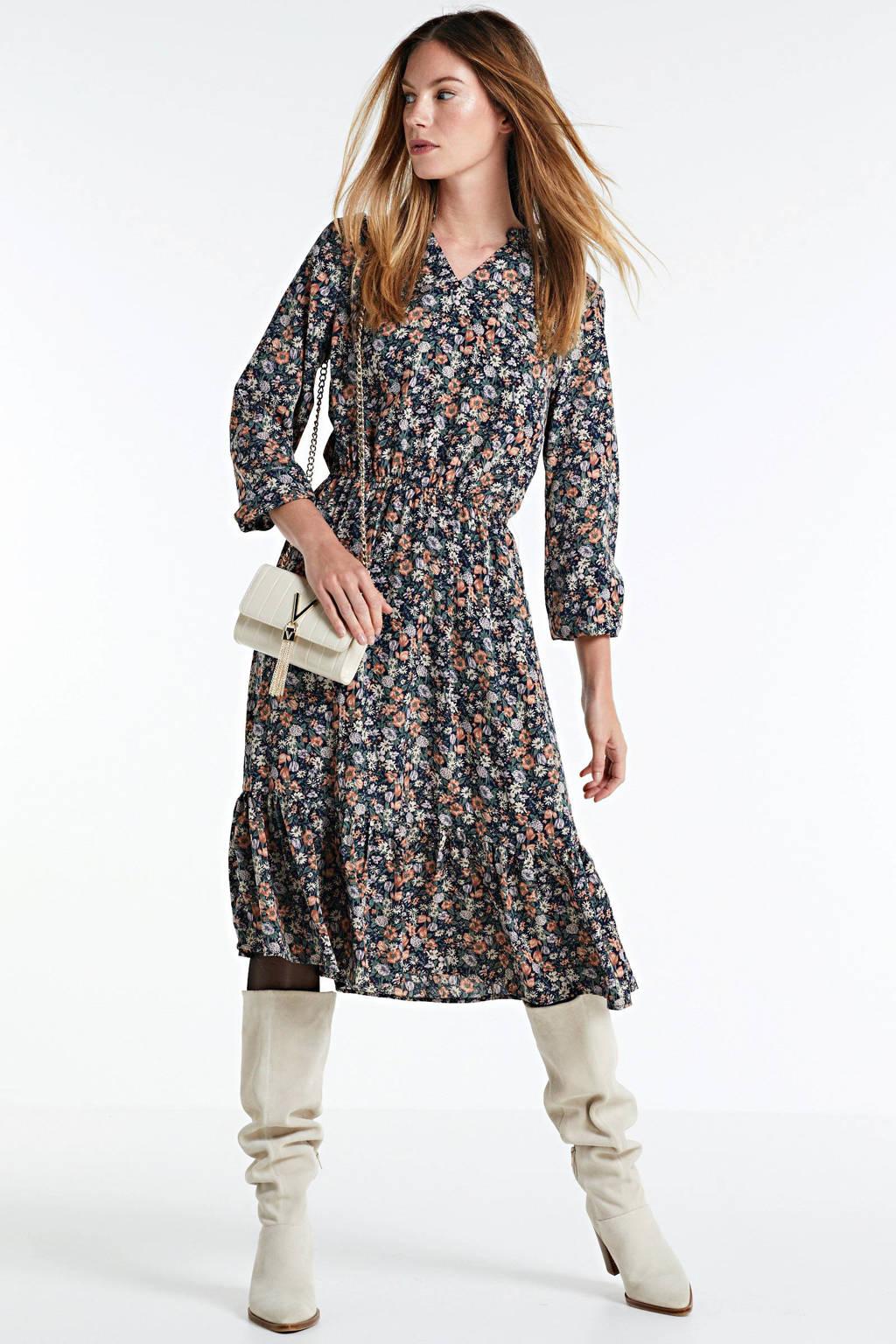 SisterS Point gebloemde maxi jurk Vessi donkerblauw/multi, Donkerblauw/multi