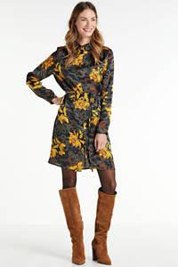 SisterS Point blousejurk met all over print en ceintuur antraciet/geel, Antraciet/geel