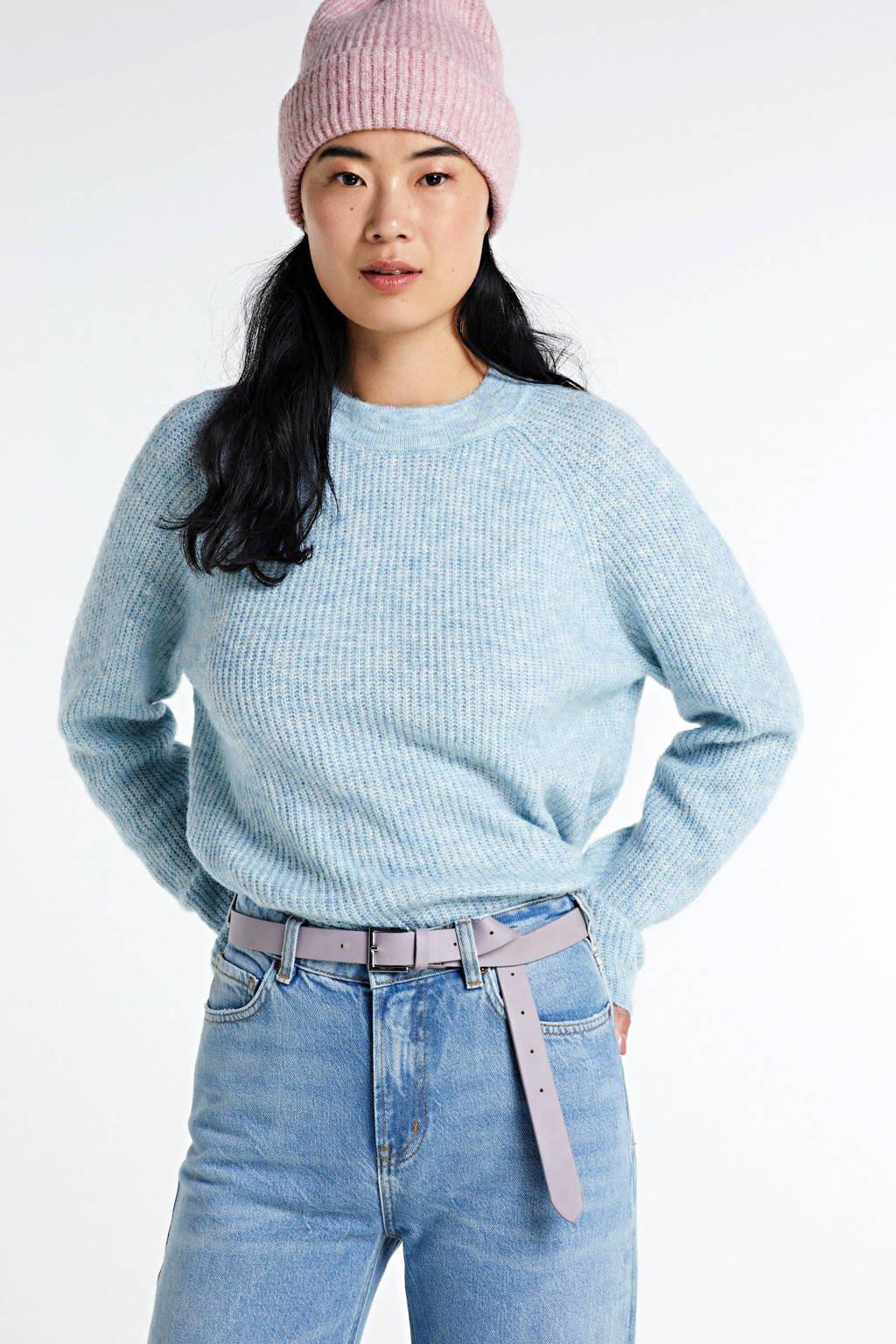 SisterS Point gemêleerde gebreide trui lichtblauw, Lichtblauw