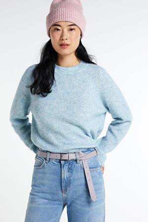 gemêleerde gebreide trui lichtblauw