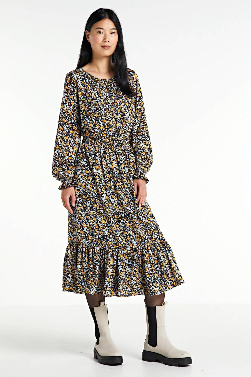 SisterS Point jurk met all over print en volant zwart/geel, Zwart/geel