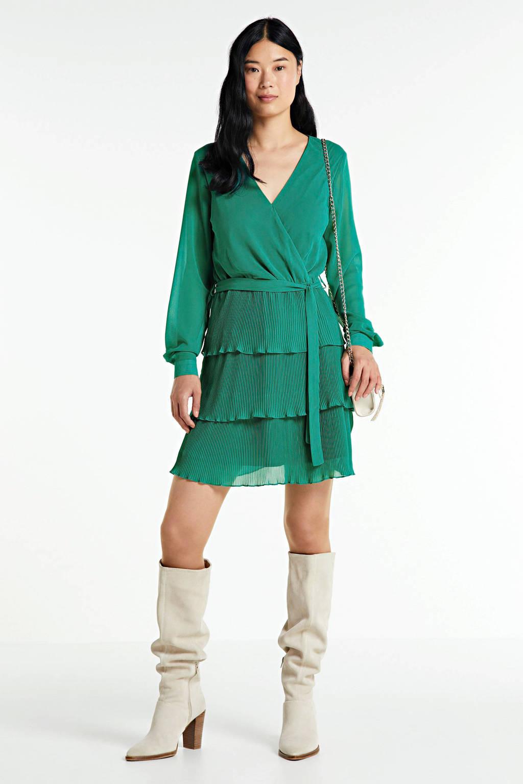 SisterS Point jurk met mesh groen, Groen