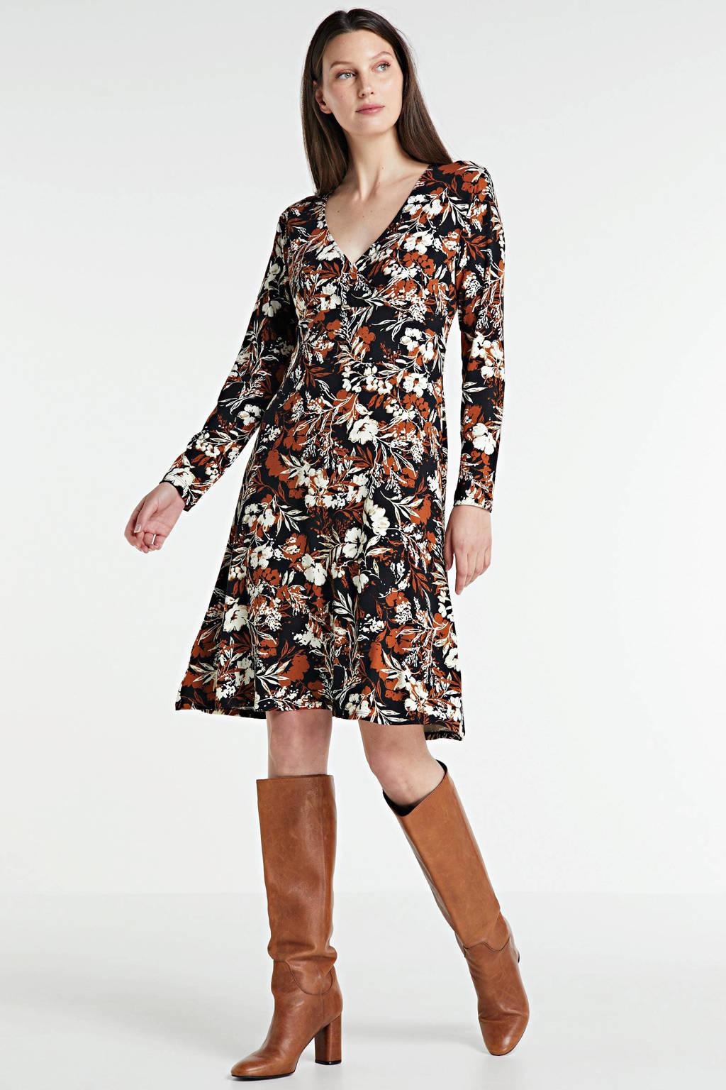 anytime jurk met overslagkraag zwart/wit/rood, Zwart/wit/donkerrood