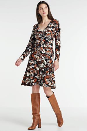jurk met overslagkraag zwart/wit/rood