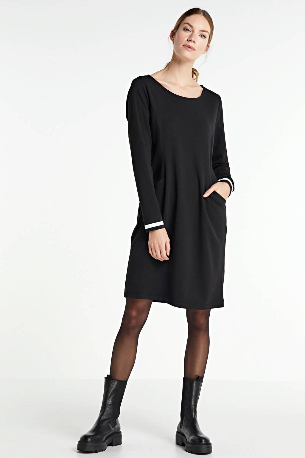 anytime jurk met contrastbies zwart, Zwart