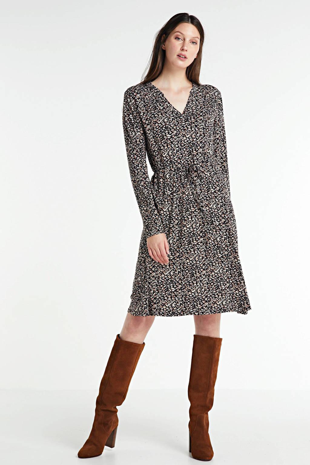 anytime jurk met panterprint zwart/multi, Zwart/multi