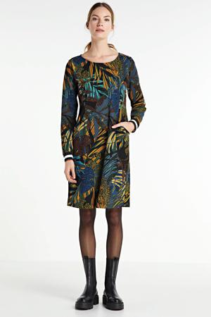 jurk met contrastbies groen/blauw/multi