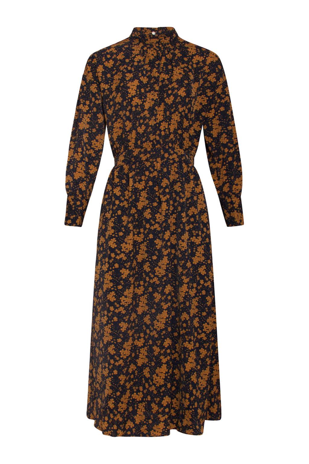 Smashed Lemon gebloemde maxi blousejurk zwart/oranje, Zwart/oranje
