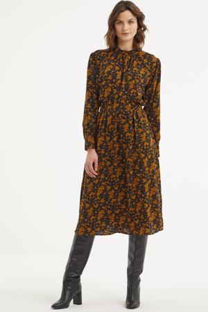 gebloemde midi blousejurk zwart/oranje