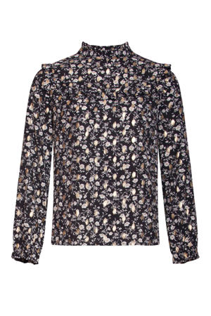 top met all over print en ruches zwart/goud/lichtroze