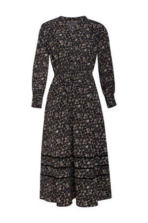 gebloemde blousejurk zwart/ecru/oker