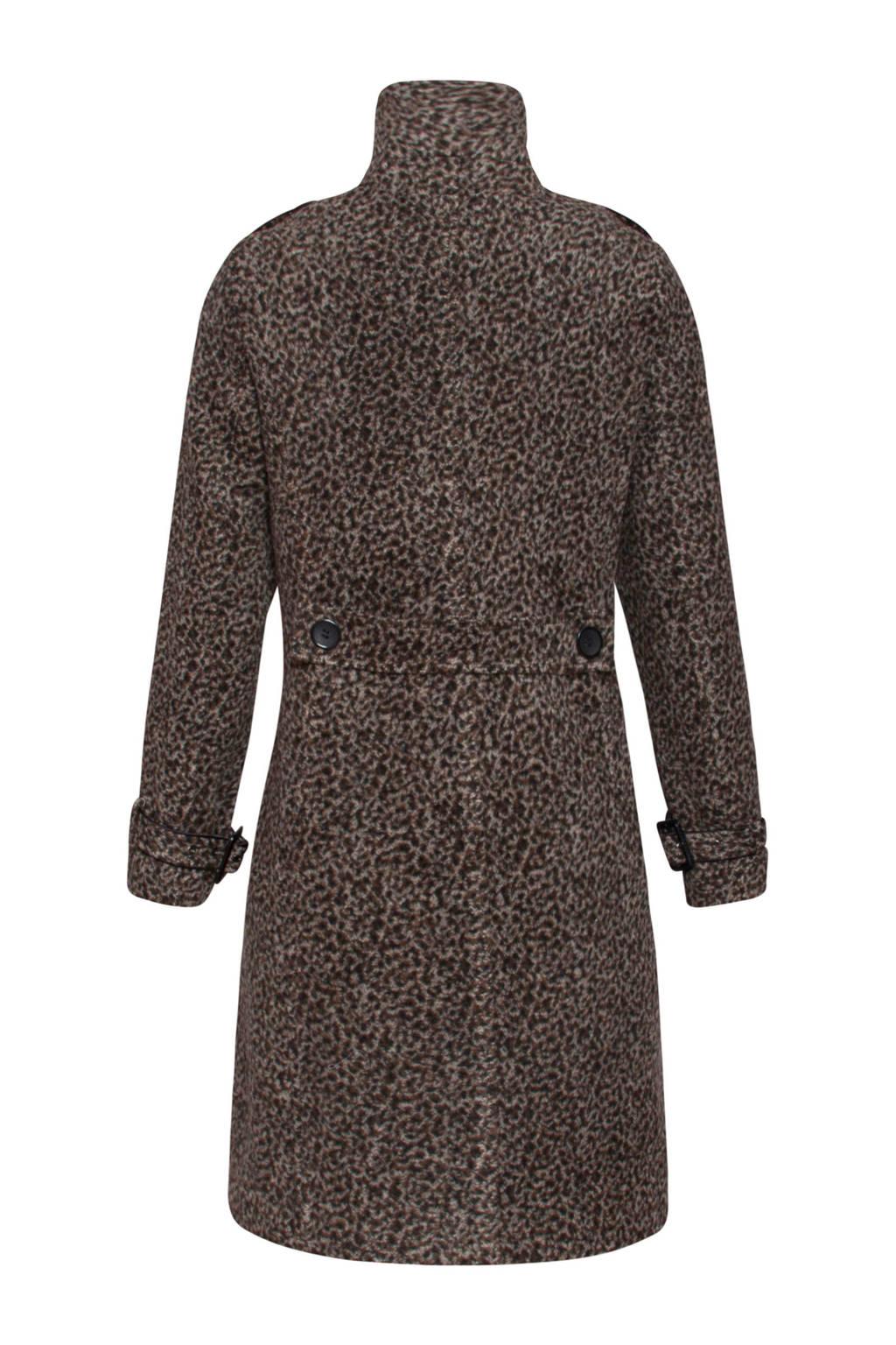 Smashed Lemon coat met dierenprint bruin/beige/zwart, Bruin/beige/zwart