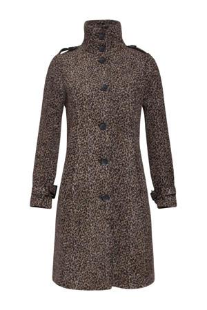 coat met dierenprint bruin/beige/zwart