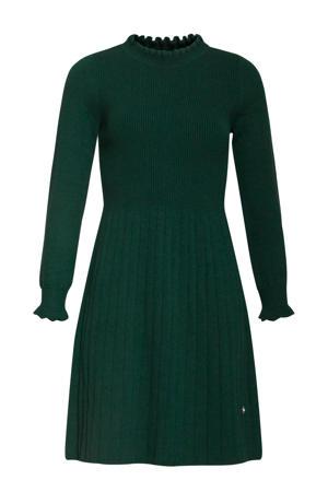 ribgebreide A-lijn jurk met ruches donkergroen