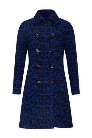 coat met panterprint donkerblauw/zwart
