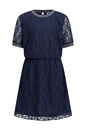 jurk met contrastbies en kant donkerblauw