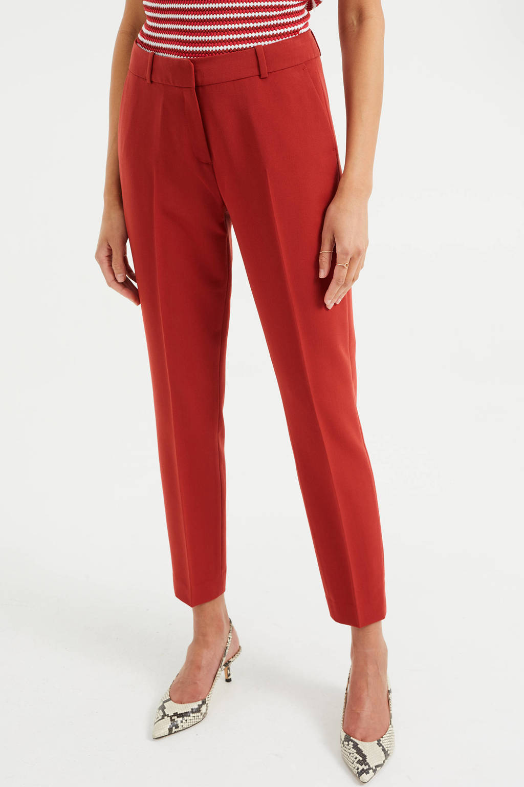 WE Fashion regular fit broek rood, Rood