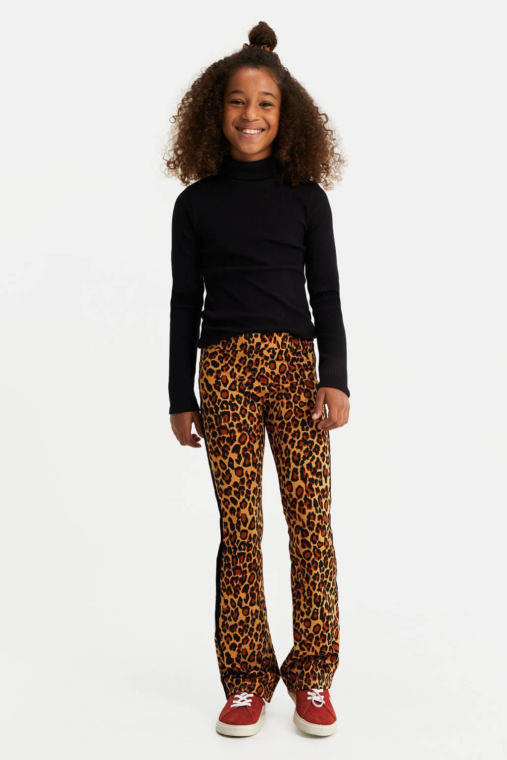 WE Fashion flared broek met panterprint bruin, Bruin