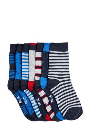 sokken - set van 7 blauw/grijs