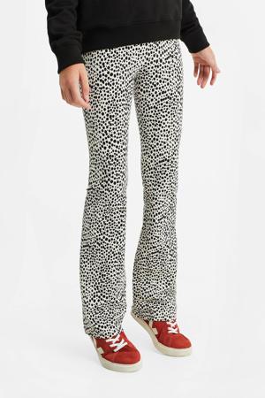 skinny broek met all over print wit/zwart