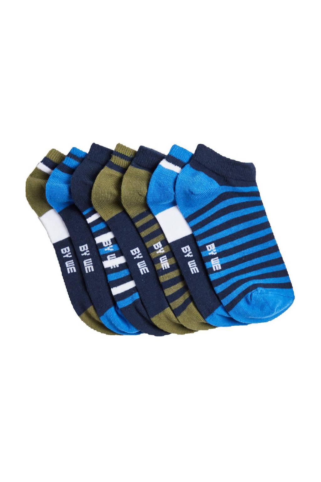 WE Fashion enkelsokken - set van 7 blauw/kaki, Blauw/donkerblauw/kaki