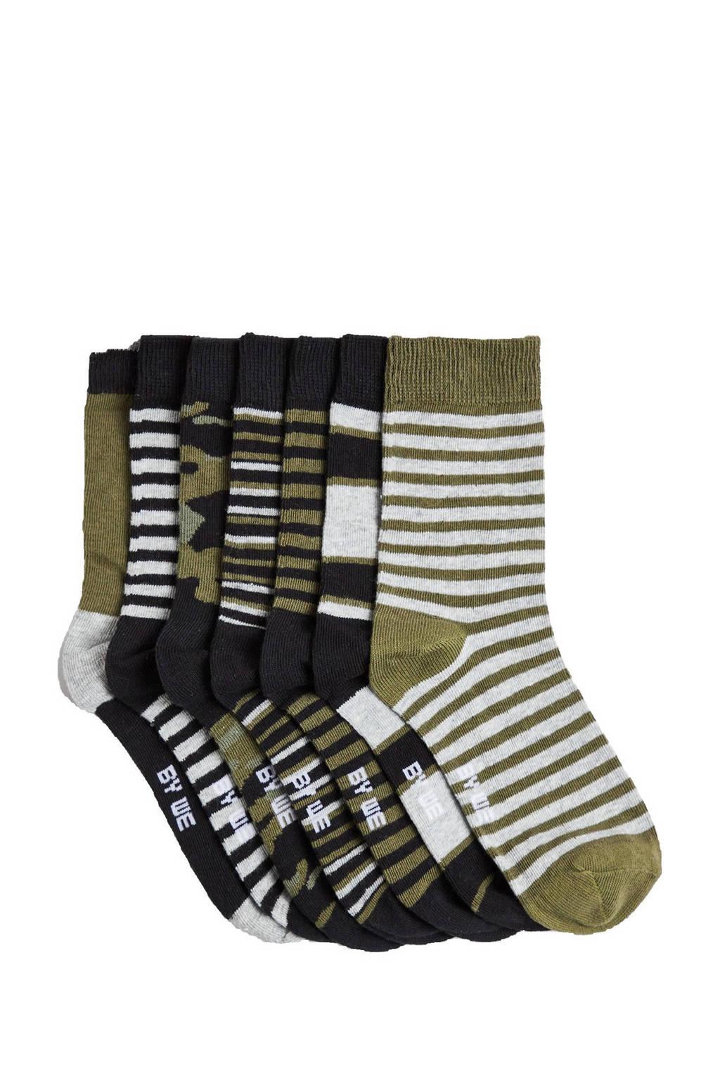 WE Fashion sokken - set van 7 kaki/zwart, Kaki/zwart/gijs