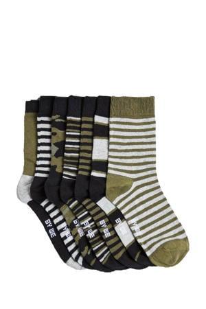sokken - set van 7 kaki/zwart