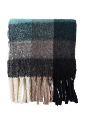 geruite sjaal zwart/beige
