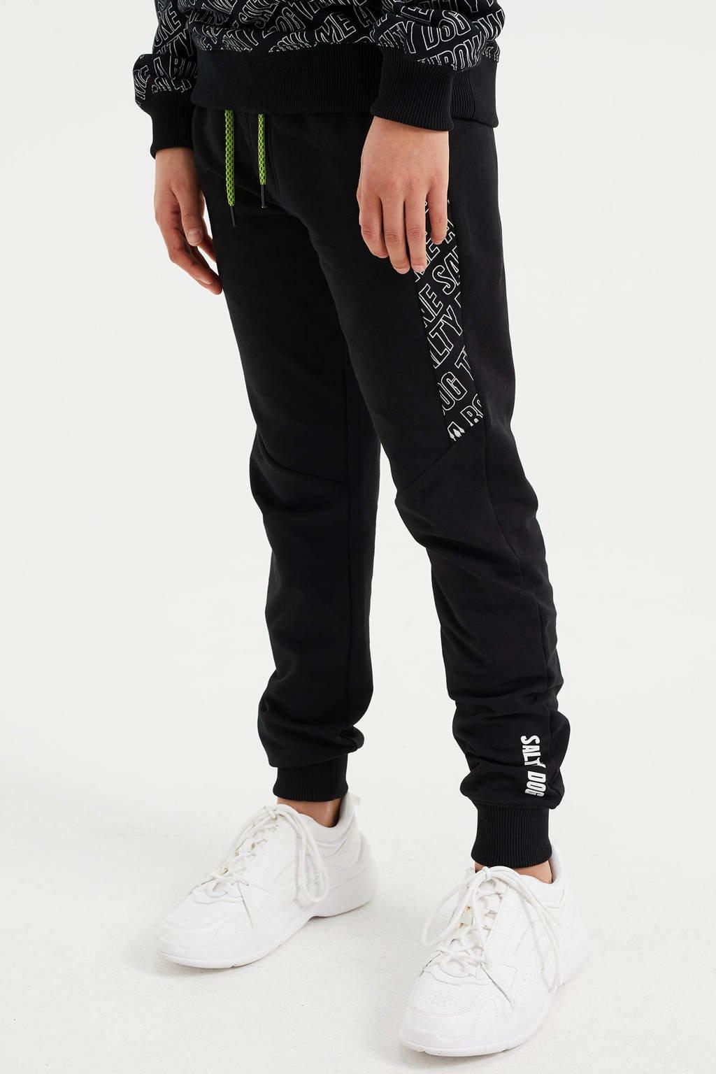 WE Fashion Salty Dog slim fit joggingbroek met tekst zwart, Zwart