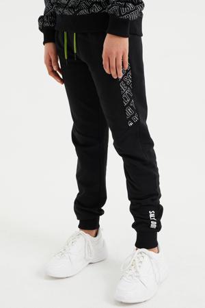 slim fit joggingbroek met tekst zwart