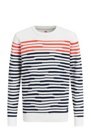gestreepte fijngebreide trui wit/zwart/rood