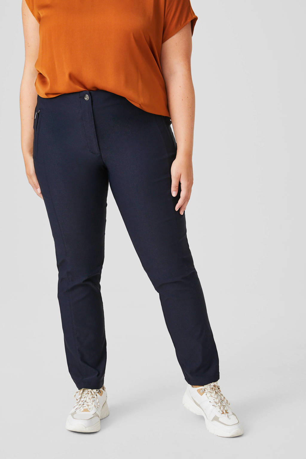 C&A XL Yessica slim fit broek donkerblauw, Donkerblauw