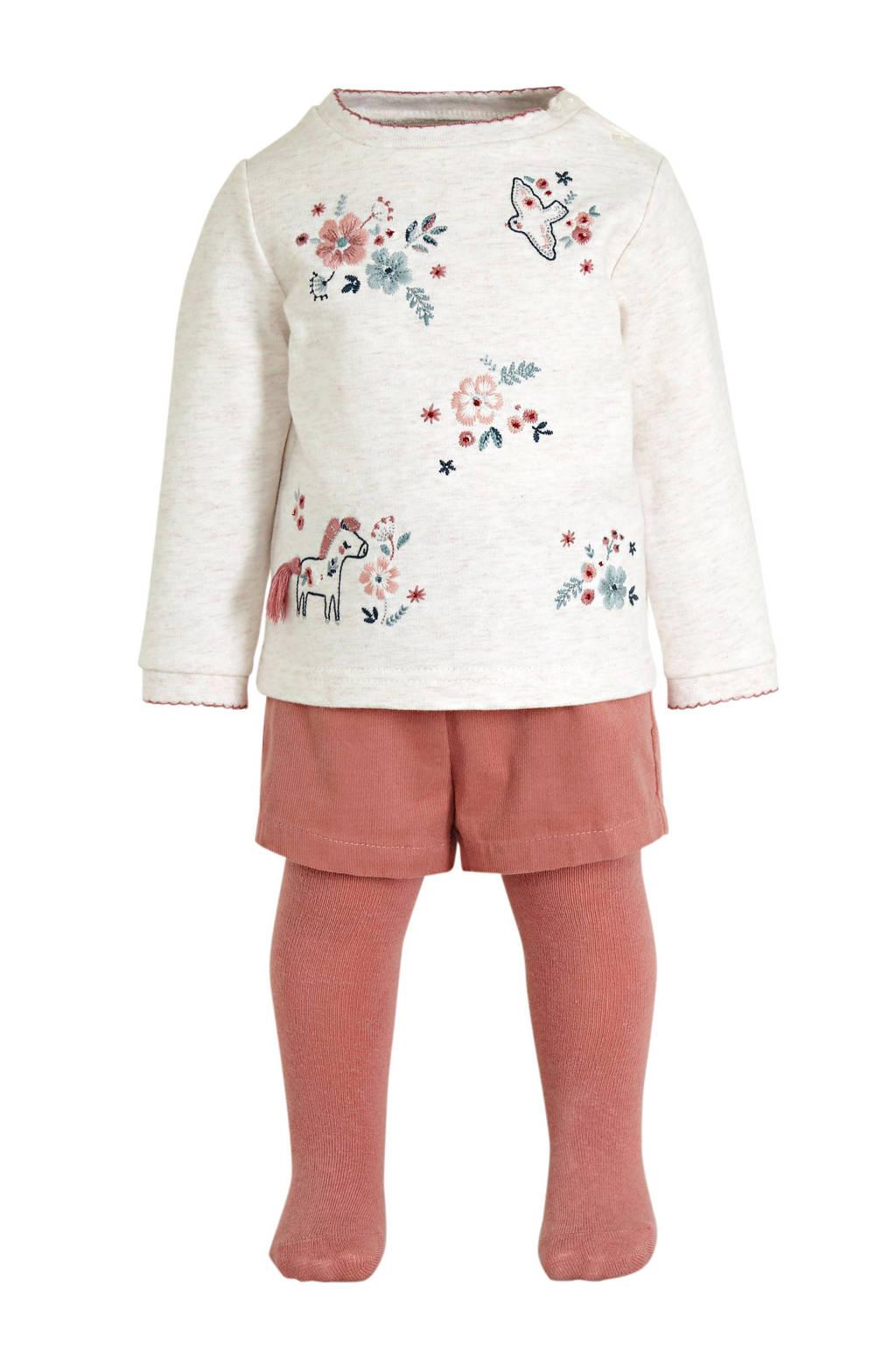 C&A Baby Club sweater + short + maillot ecru/oudroze, Ecru/oudroze