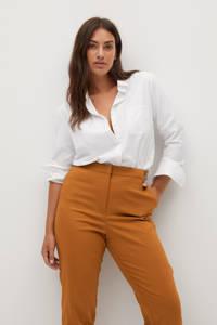 Violeta by Mango cropped high waist slim fit pantalon camel, Camel