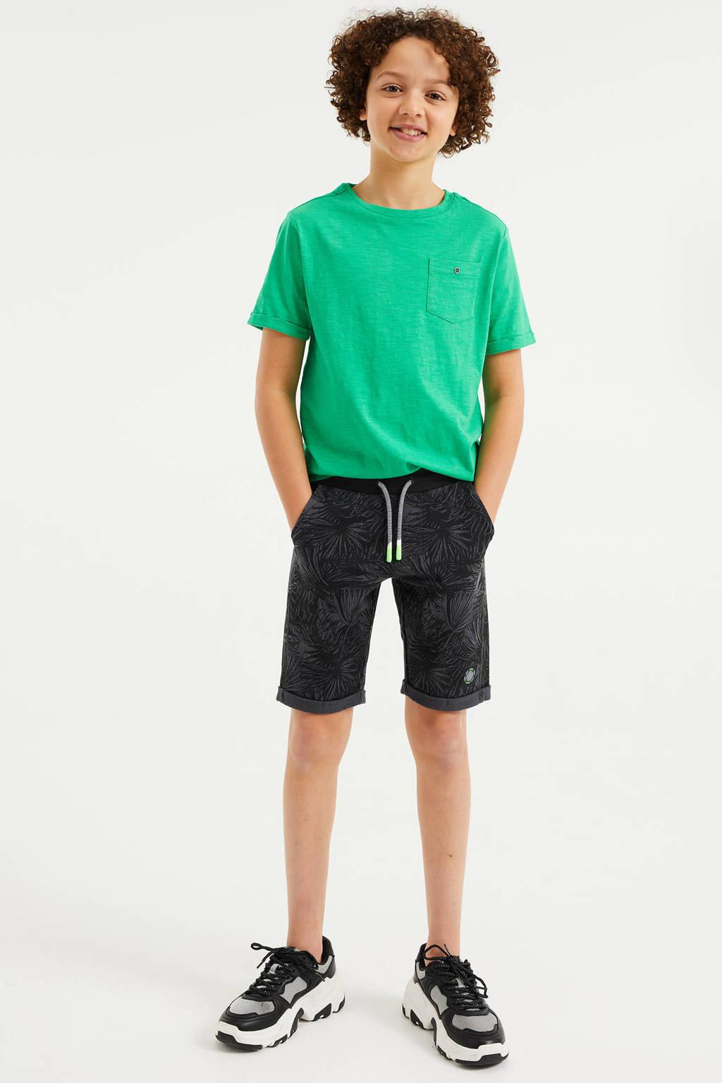 WE Fashion slim fit sweatshort met bladprint antraciet, Antraciet