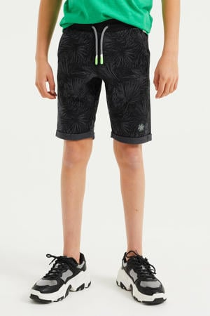 slim fit sweatshort met bladprint antraciet