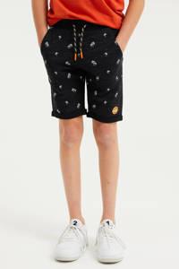 WE Fashion slim fit sweatshort met all over print zwart/wit, Zwart/wit