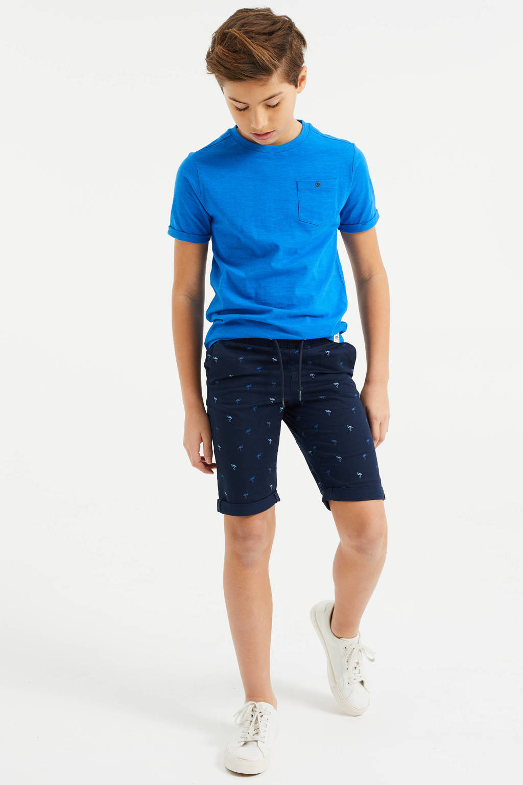 WE Fashion slim fit bermuda met all over print donkerblauw, Donkerblauw