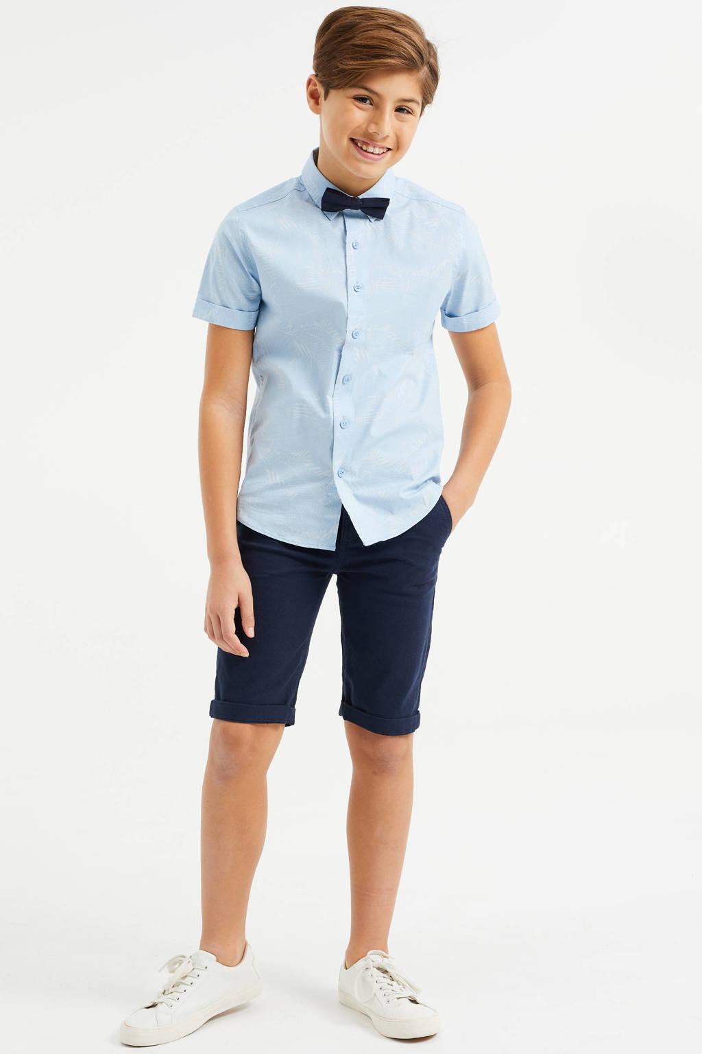 WE Fashion slim fit bermuda donkerblauw, Donkerblauw